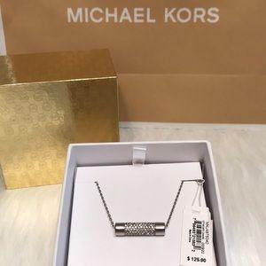Michael Kors Silver Bar Pendant Necklace